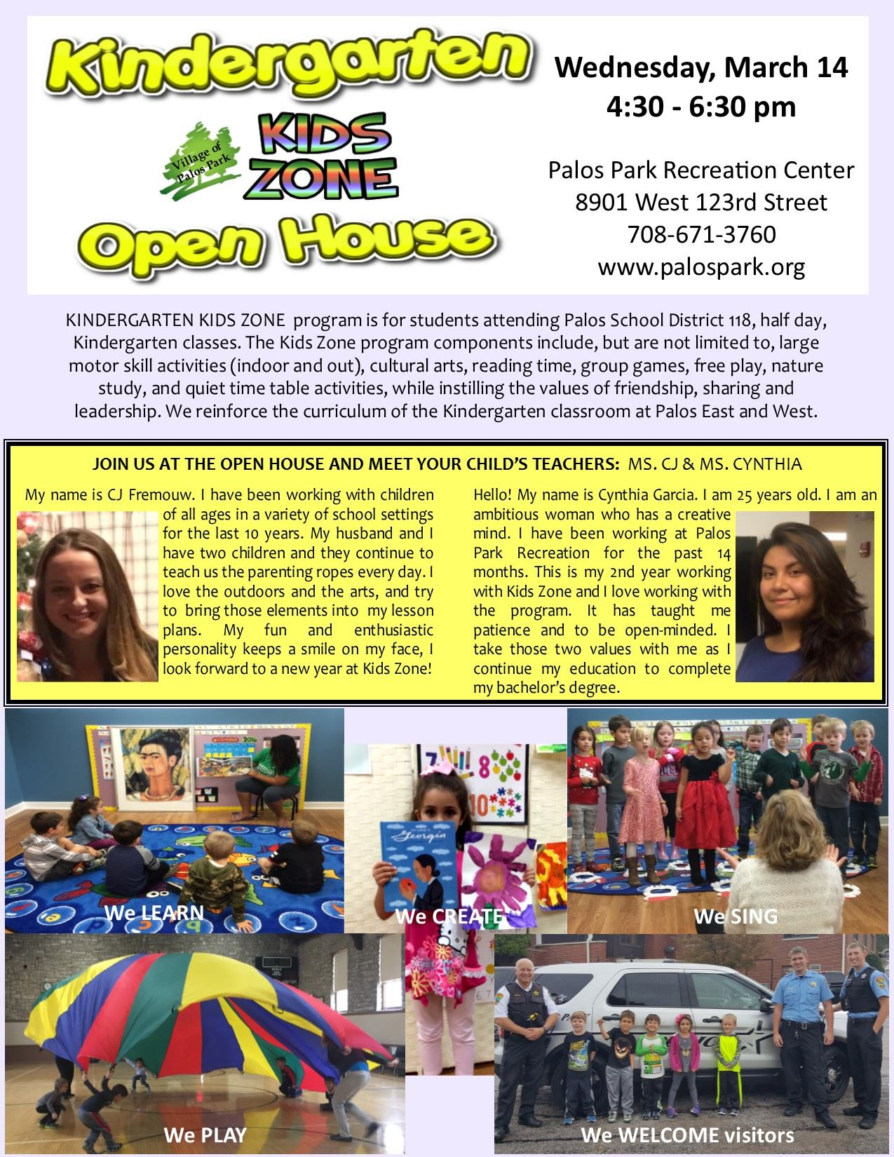 Kid Zone page in Spring 2018