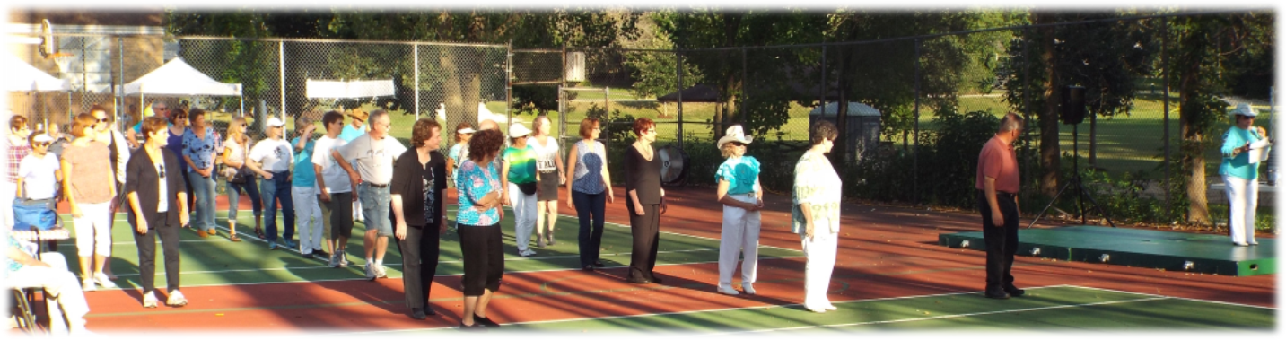 Line Dancing on tennis courts