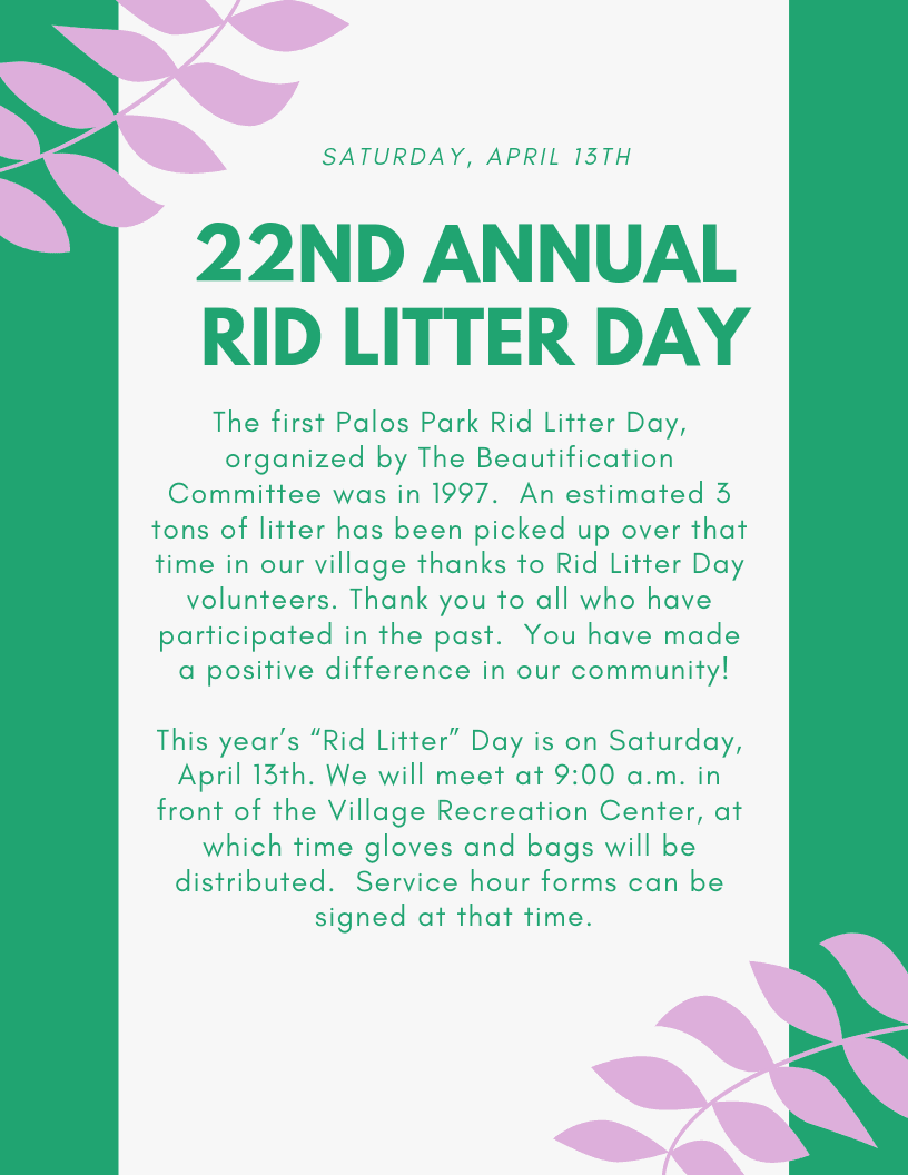 22nd Annual Rid Litter Day